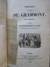 HAMILTON : MEMOIRES DU COMTE DE GRAMMONT, 1838.