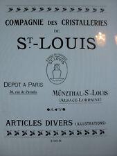 SAINT-LOUIS Catalogue livre cristal cristalleries 1908 53 PAGES PDF