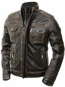 Men's Biker Brown Vintage Motorcycle Distressed Cafe Racer Real Leather Jacket