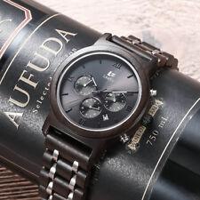 LeeEv Steel & Sandal Wood Watch Men Quartz Men's Wooden Watch Relogio Masculino