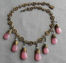 Vintage Antique Chinese Brass Filigree Peking Glass Drop Festoon Necklace CHINA