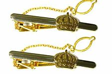 2 tie clips LOT clasps pins gold plated King's Queen's Crown c34crown2