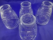 """4 Vintage Clear Cut Glass Light Lamp Shades 2"""" Fitters, 4.5"""" x 4"""" Incised Stars"""