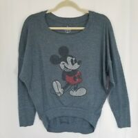 Disney Parks Mickey Mouse Bedazzled Rhinestone Dusty Blue Sweatshirt Size Small