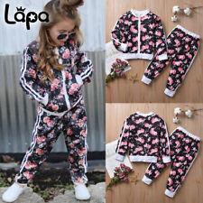 Lapa 2 Stück Kinder Mädchen Trainingsanzug Blumenjacke Top Hose Outfits Kleidung