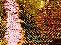 572ea03a5145a GOLD PINK Reversible 5mm Sequin Fabric Flip Two Tone Stretch Material 130cm  wide