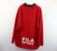 Vintage 90s Fila Sport Mens Large Spell Out Half Zip Fleece Pullover Sweater Red