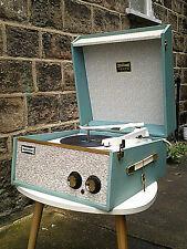 STUNNING 1963 ORIGINAL DANSETTE TEMPO RECORD PLAYER in 100% ORIGINAL PALE BLUE!