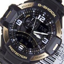 *NEW* CASIO MENS G SHOCK AVIATION GOLD WATCH TWIN SENSOR GA1000-9G RRP£259