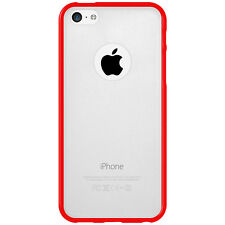 For iPhone 5C SlimGrip Hybrid TPU Bumper Case Clear Back Cover - Cloudy/ Red