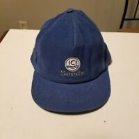 Vintage ICI Seeds Cordoroy Swingster Snapback Hat, Blue, Farming Collectible