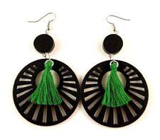 Dark Green Cotton Tassels Lightweight Laser Cut Black Wood Dangle Earrings #615