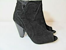 XOXO SUEDE LOOK ANKLE BOOT~OPEN TOE/STACKED HEEL~WHIPSTITCH DESIGN~SIDE ZIP~NEW