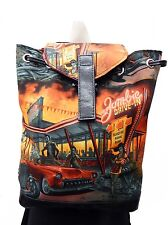"BACKPACK WITH ADJUSTABLE HANDLES ""ZOMBIES DRIVE-IN"" PATTERN, COTTON, NEW"