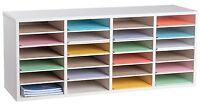 AdirOffice White 24 Compartments Adjustable Wood Literature Organizer