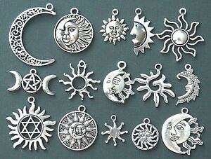 Moon and Sun Tibetan Silver Charms Pendants Pagan Wicca Celtic Choose Design Mix