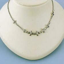 Stainless Steel Flower with Diamond Necklace