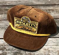 VTG 1980s HB Scotts Chewing Tobacco Trucker Hat Cap Brown Corduroy Made USA F