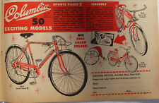 1962 Vintage Columbia 50 Models Bicycles Sports Pacer Fireball Bike Print Ad