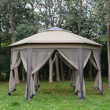 More details for outsunny hexagon patio gazebo garden shelter heavy-duty double roof w/mesh 4.05m