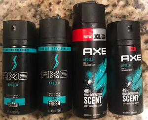 Lot Of 4 AXE APOLLO Men Deodorant Body Spray New Version 4oz & 5.1oz