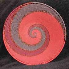 Deep Red Wine Copper Swirl Handmade African Zulu Telephone Wire Basket Plate MED
