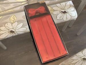 Unisex Men's Women's Solid SILK RED Wedding Cummerbund & Bow Tie Set-Brand New!