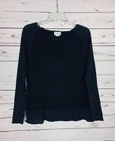 Soft Surroundings Women's S Small Black Crochet Long Sleeve Cute Sweater Top