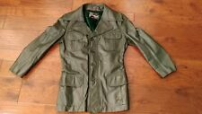 Vintage Montgomery Ward Leather Long Coat Removable Liner Green Size 38R