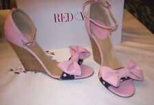 NEW  VALENTINO PINK LEATHER  WEDGE  HEELS  WITH  BOW  AND  POLKA DOTS  SIZE  9.5
