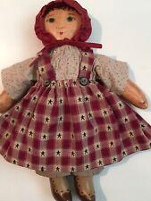 "Cloth Folk Art Homespun Doll ""Baby Carey"" by Mg 1998 Hand Made Prairie Doll"