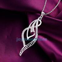 Women 925 Sterling Silver Plated Zircon Necklace Pendant Chain Elegant Jewelry