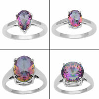 Mystic Topaz 925 Sterling Silver Ring Band Women Exclusive Jewellery SJR233-PAR