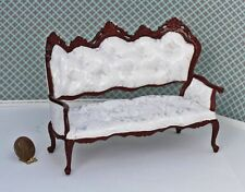 Dollhouse Miniature Mahogany Pintuck White Damask Ornate Victorian Sofa