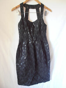 CUE, SIZE 8, BLACK WITH SHINNY BRUSH STROKE PATTERN, CAREER DRESS