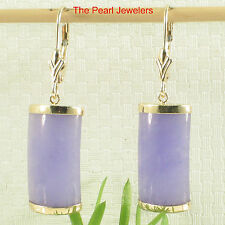 14k Yellow Solid Gold Leverback Curved Shaped Lavender Jade Dangle Earrings TPJ