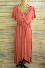 NWOT Liz Lange Maternity - Brick RED-pink rayon blend FAUX wrap dress, size S