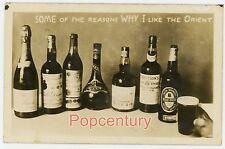 1929 RPPC Postcard China Peking Peiping Bar Liquors I lIke the Orient Real Photo