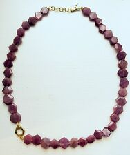 Ruby necklace with gold hexagon pendant
