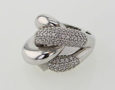 Women's 925 Sterling Silver Overlap Fashion Ring with Cubic Zirconia Size 7