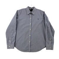 Ralph Lauren Women's Button-Down Shirt Large Non-Iron Cotton Blue & White Stripe