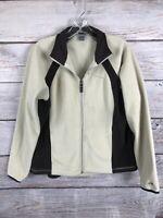 Champion C9 Zip Front Fleece Sweatshirt Pockets Cream/Brown Women's L