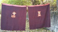 Antique Hand Woven Childrens Blankets with Circus Cartoon Appliques
