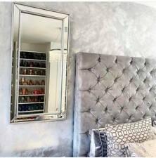 Silver Tall Slim Mirror Framed Wall Full Leaner Bevelled Modern Display Large
