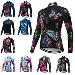 Women's Long Sleeve Cycling Jersey Top Reflective Ladies Bike Cycle Shirt S-5XL