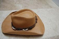 New Monte Carlo BULLHIDE 50X Straw Jute Western Style Hat w/Conchos Beads Medium