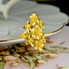 Fine Real 24K Yellow Gold Women Ring 3D Beauty Flower Ring US6.5 / 4.1-4.5g