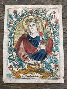 S. Rosalia, Andachtsbild Heiligenbild Koloriert um 1700
