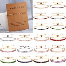 Colorful Zircon CZ Crystal Chain Bracelet Bangle Women Wedding Bridal Jewellery