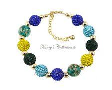 Shamballa & 14K Gold Filled Bracelet Yellow Blue Green Nancy's Collection Gift